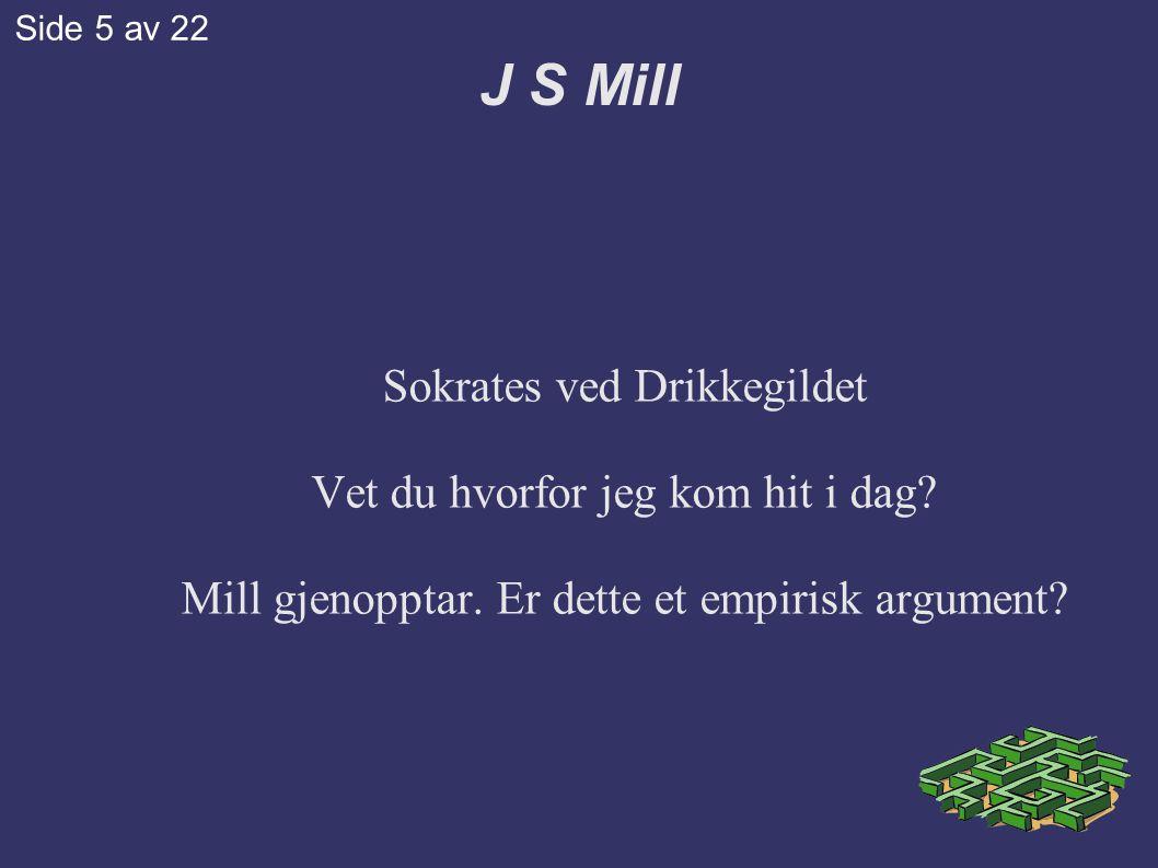 J S Mill Sokrates ved Drikkegildet Vet du hvorfor jeg kom hit i dag