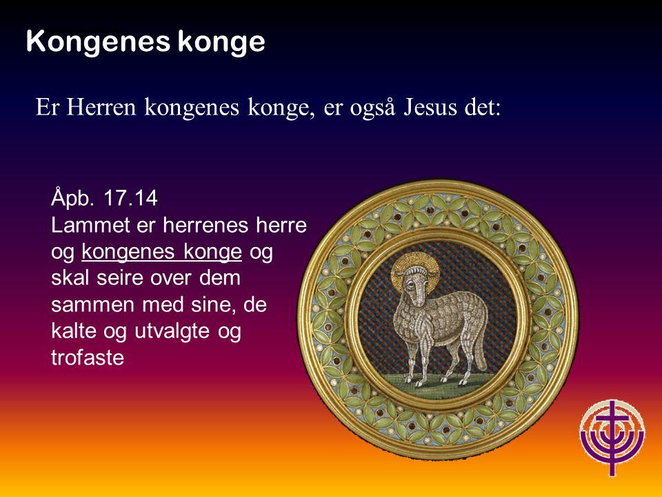 Kongenes konge Er Herren kongenes konge, er også Jesus det: Åpb. 17.14
