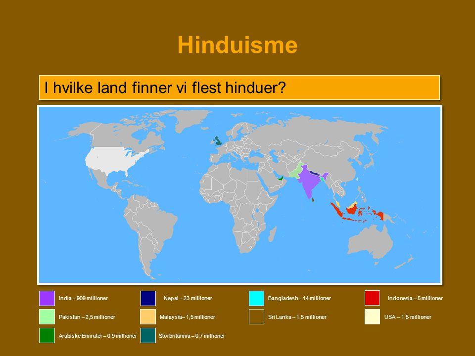 Hinduisme I hvilke land finner vi flest hinduer India – 909 millioner