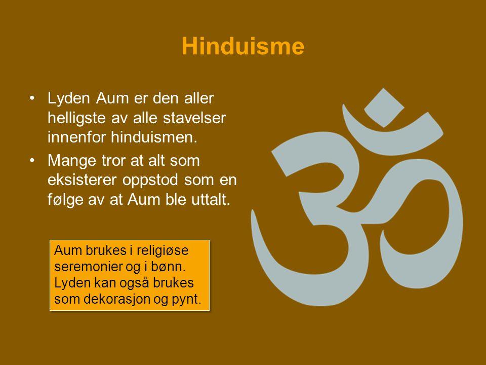 Hinduisme Lyden Aum er den aller helligste av alle stavelser innenfor hinduismen.