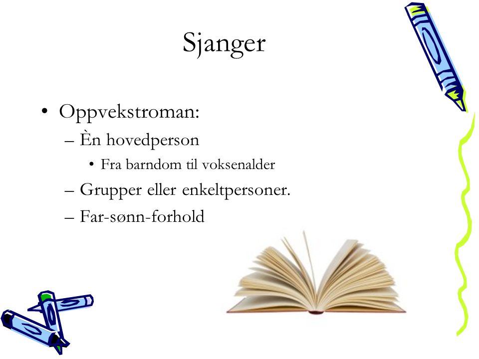 Sjanger Oppvekstroman: Èn hovedperson Grupper eller enkeltpersoner.