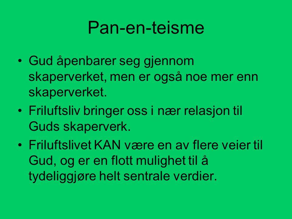 Pan-en-teisme Gud åpenbarer seg gjennom skaperverket, men er også noe mer enn skaperverket.