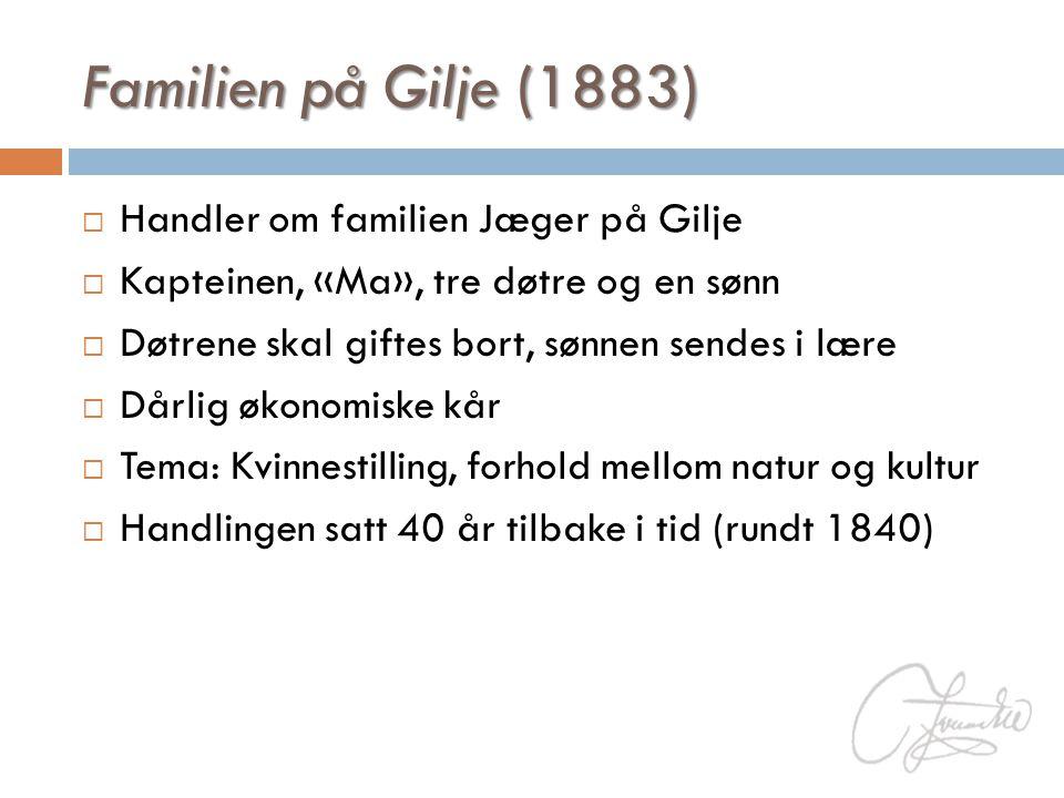 Familien på Gilje (1883) Handler om familien Jæger på Gilje