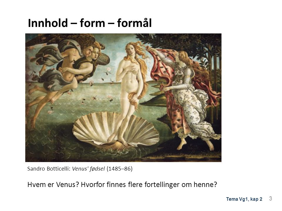 Innhold – form – formål Tolking og refleksjon over innhold form og formål. Sandro Botticelli: Venus fødsel (1485–86)