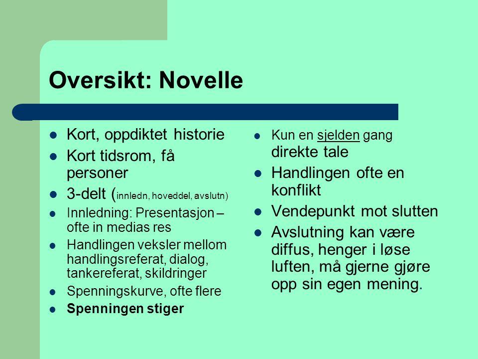Oversikt: Novelle Kort, oppdiktet historie Kort tidsrom, få personer