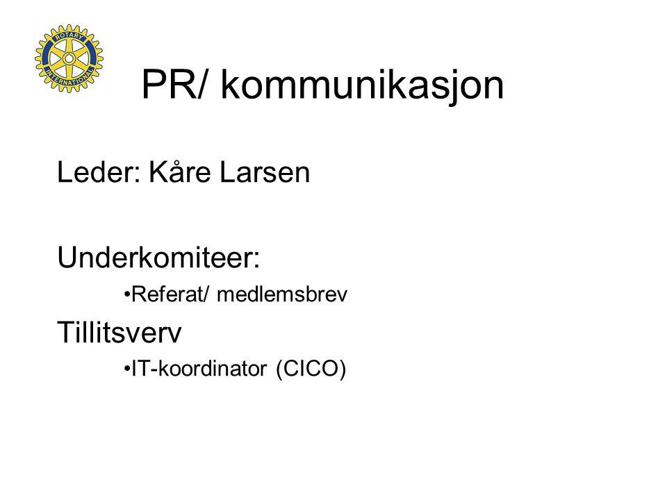 PR/ kommunikasjon Leder: Kåre Larsen Underkomiteer: Tillitsverv