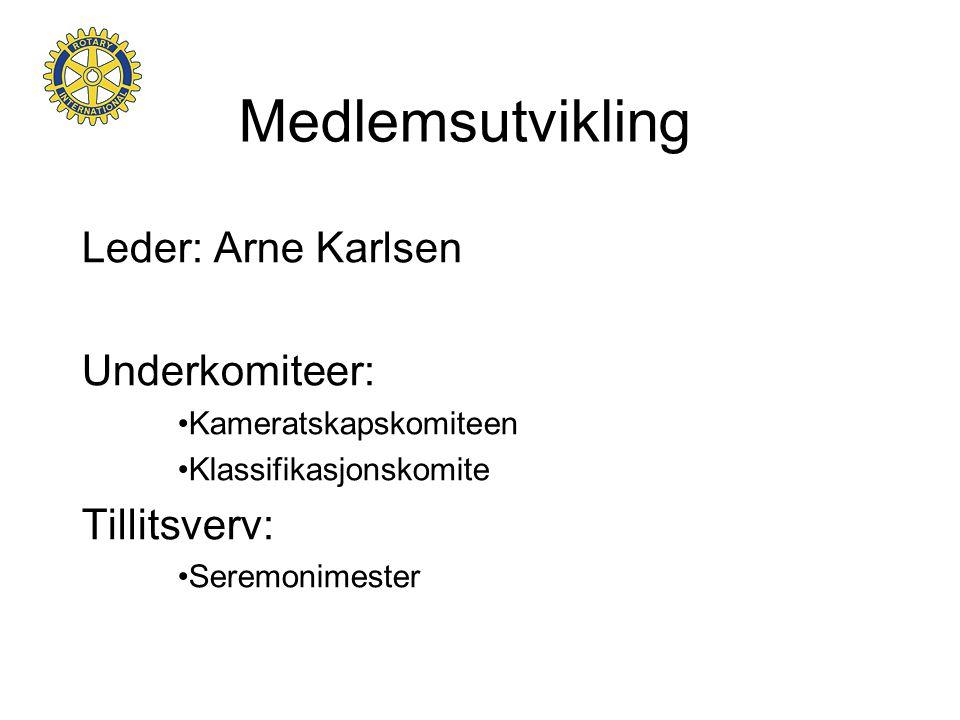 Medlemsutvikling Leder: Arne Karlsen Underkomiteer: Tillitsverv:
