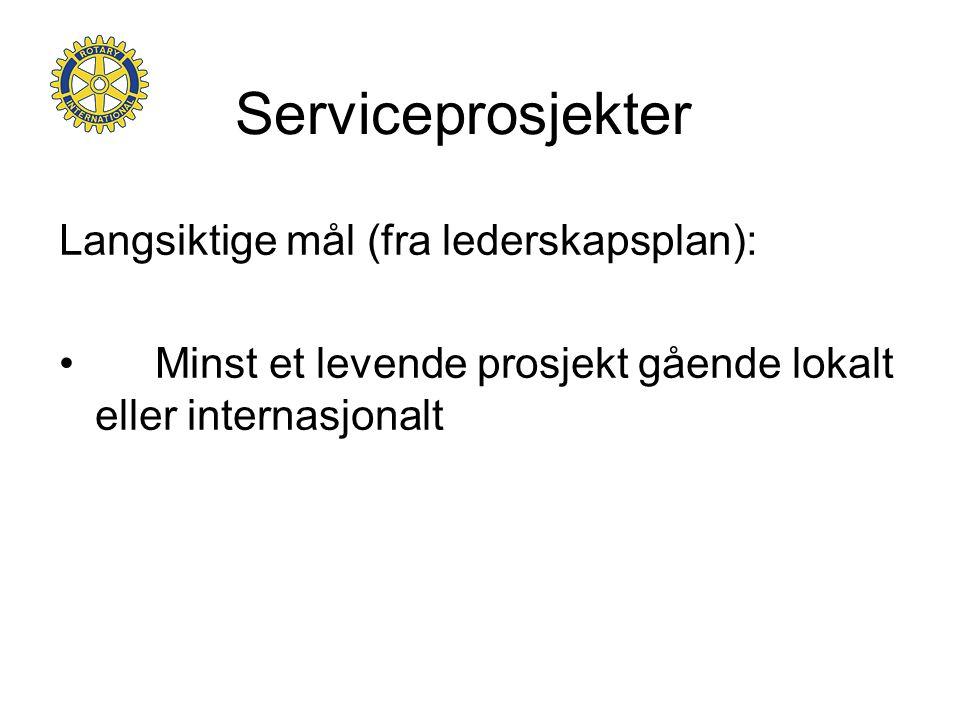 Serviceprosjekter Langsiktige mål (fra lederskapsplan):