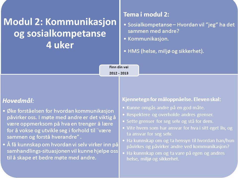 Modul 2: Kommunikasjon og sosialkompetanse 4 uker