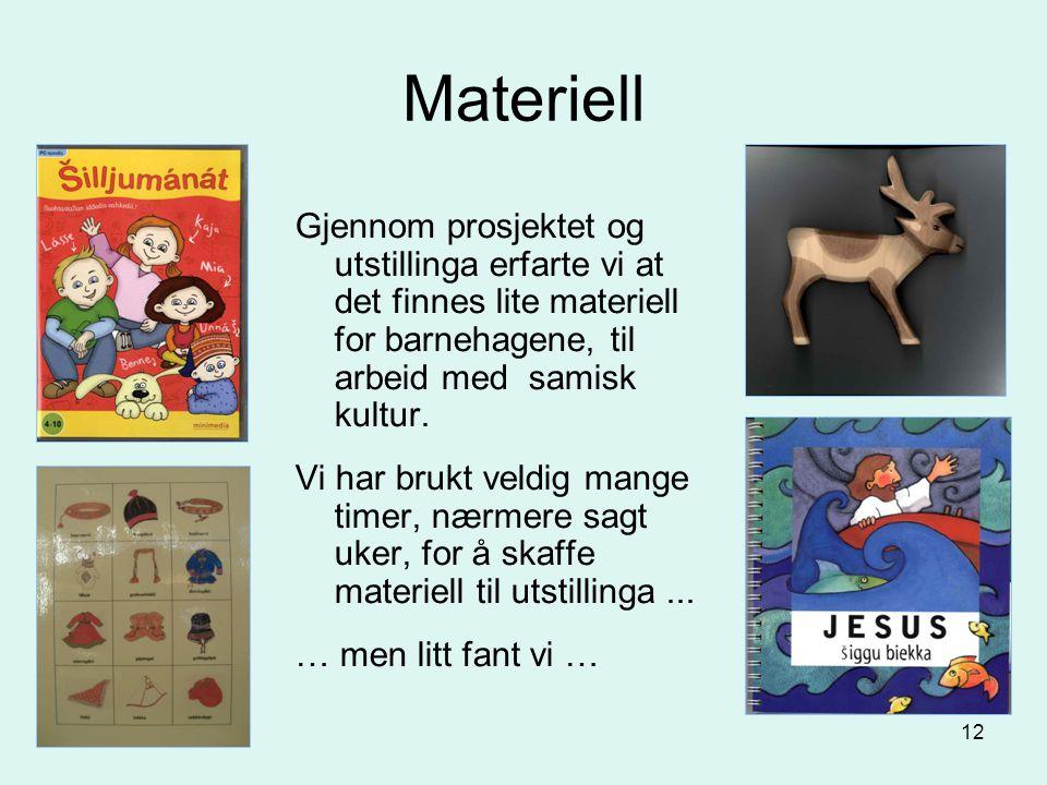 Materiell Gjennom prosjektet og utstillinga erfarte vi at det finnes lite materiell for barnehagene, til arbeid med samisk kultur.