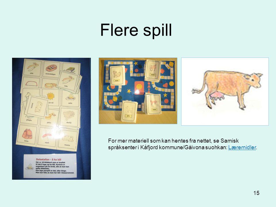 Flere spill For mer materiell som kan hentes fra nettet, se Samisk språksenter i Kåfjord kommune/Gáivona suohkan: Læremidler.