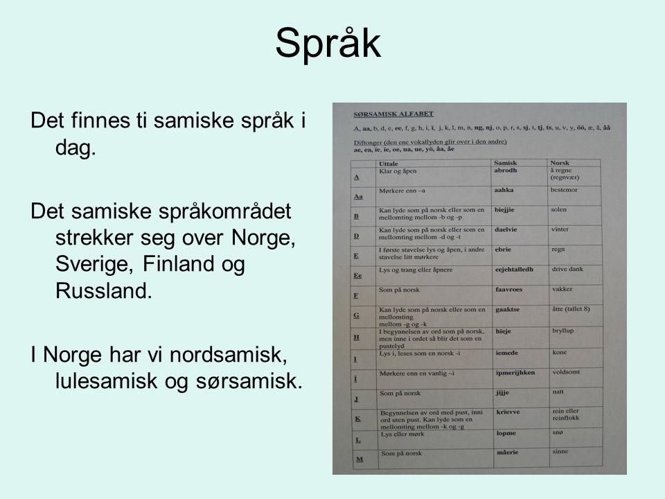 Språk Det finnes ti samiske språk i dag.