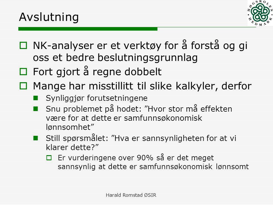 Avslutning NK-analyser er et verktøy for å forstå og gi oss et bedre beslutningsgrunnlag. Fort gjort å regne dobbelt.