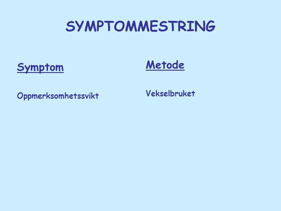 SYMPTOMMESTRING Metode Vekselbruket Symptom Oppmerksomhetssvikt