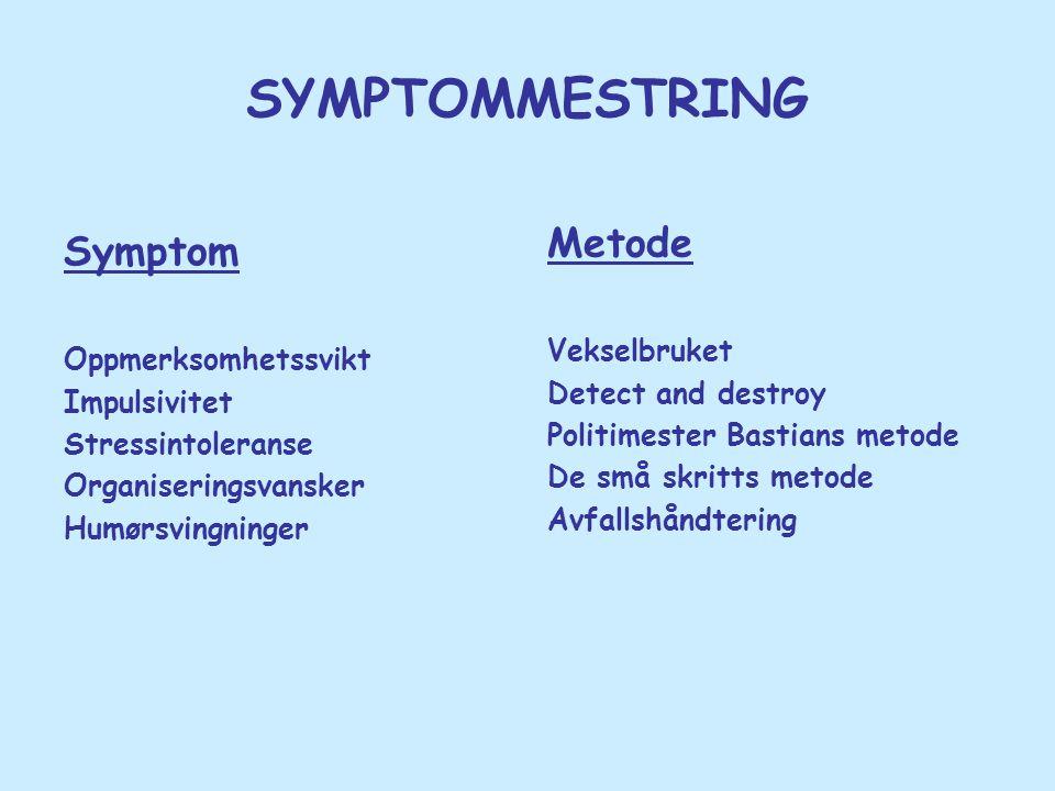 SYMPTOMMESTRING Metode Symptom Vekselbruket Oppmerksomhetssvikt