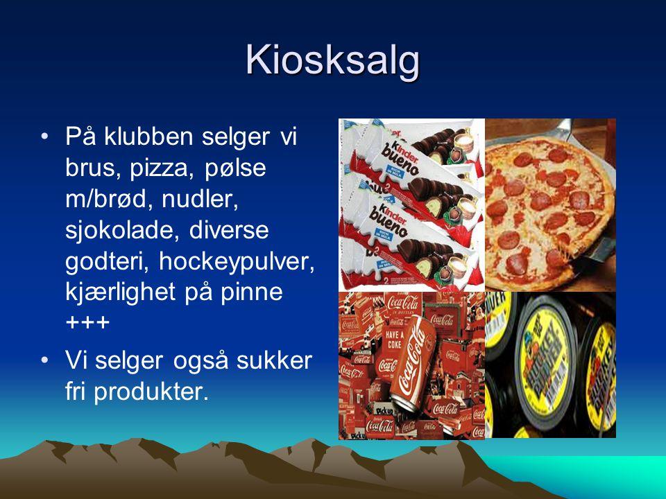 Kiosksalg På klubben selger vi brus, pizza, pølse m/brød, nudler, sjokolade, diverse godteri, hockeypulver, kjærlighet på pinne +++