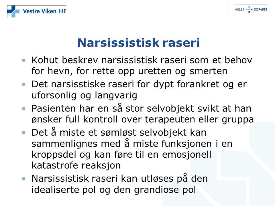 Narsissistisk raseri Kohut beskrev narsissistisk raseri som et behov for hevn, for rette opp uretten og smerten.