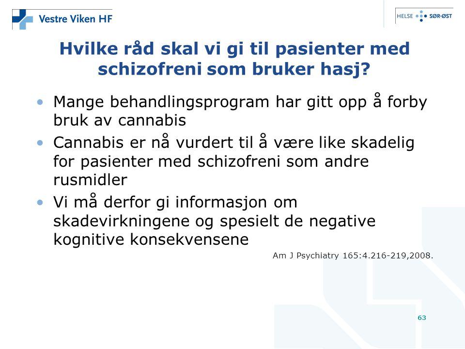 Hvilke råd skal vi gi til pasienter med schizofreni som bruker hasj