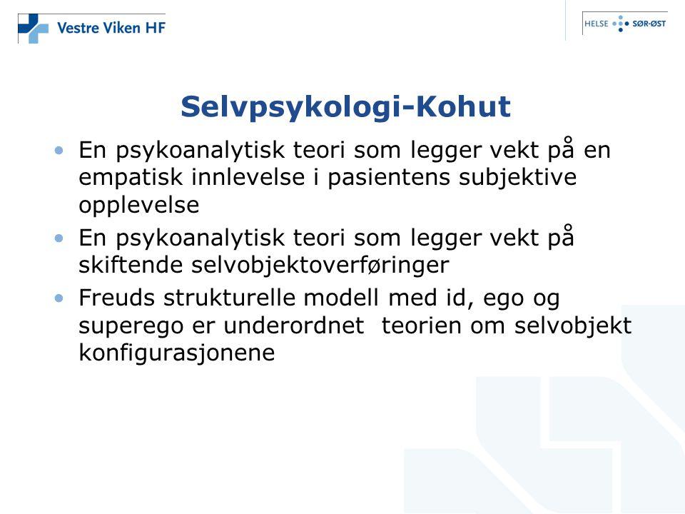 Selvpsykologi-Kohut En psykoanalytisk teori som legger vekt på en empatisk innlevelse i pasientens subjektive opplevelse.