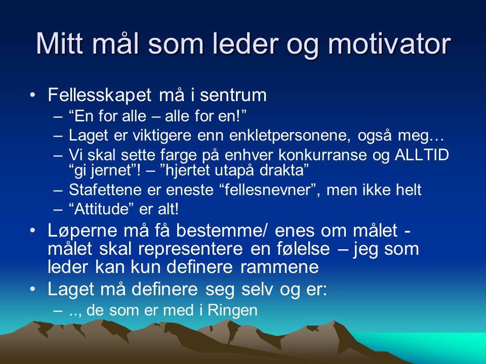 Mitt mål som leder og motivator