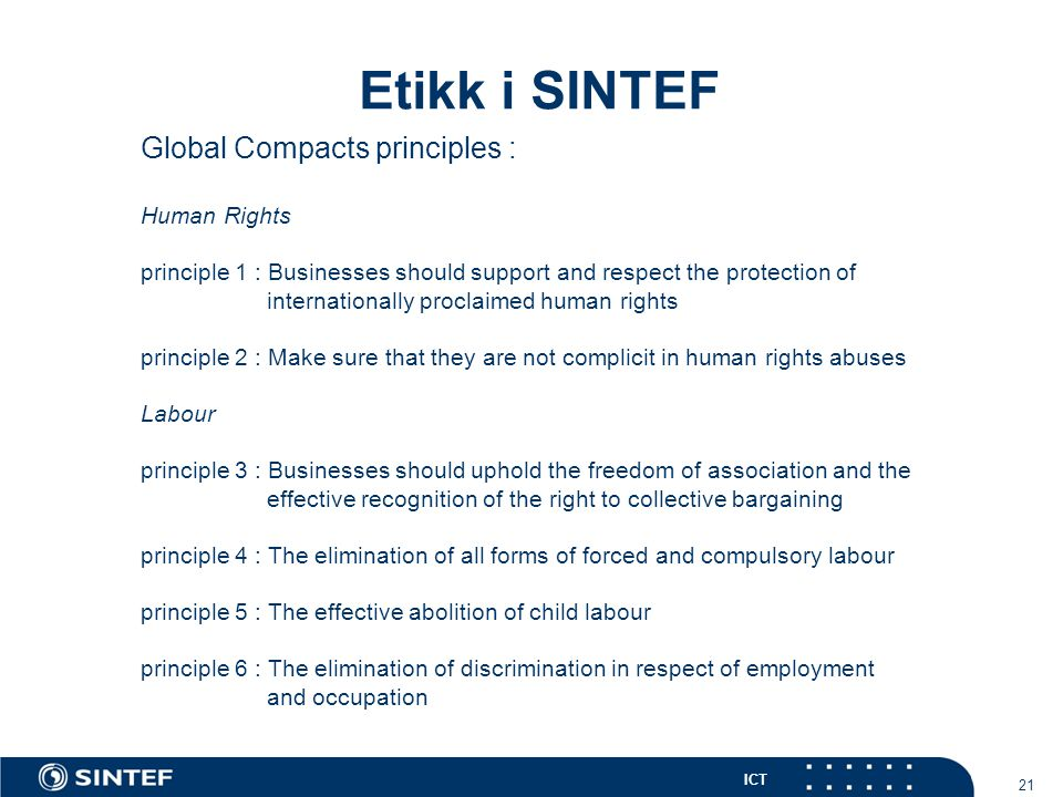 Etikk i SINTEF Global Compacts principles : 21 Human Rights