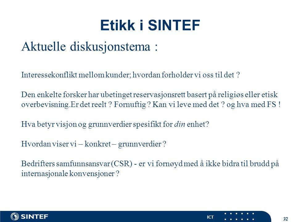 Etikk i SINTEF Aktuelle diskusjonstema :