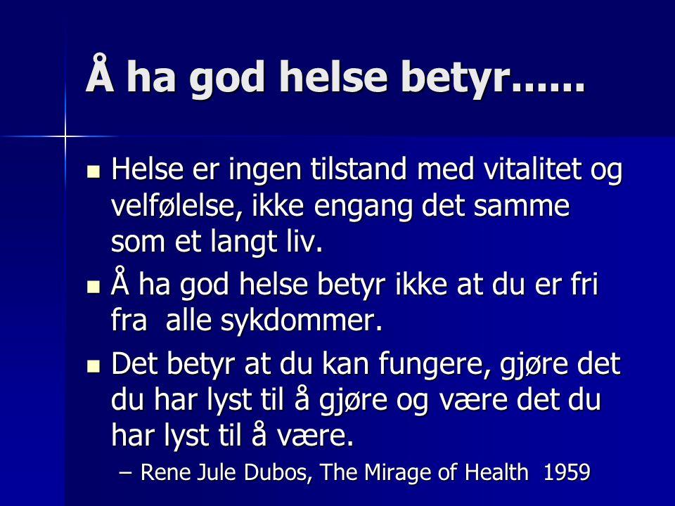 Å ha god helse betyr...... Helse er ingen tilstand med vitalitet og velfølelse, ikke engang det samme som et langt liv.