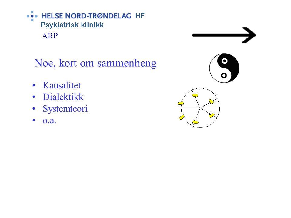 Noe, kort om sammenheng Kausalitet Dialektikk Systemteori o.a. ARP HF