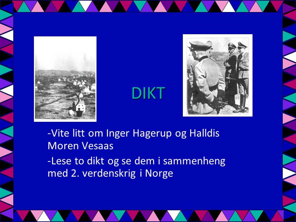 DIKT Vite litt om Inger Hagerup og Halldis Moren Vesaas