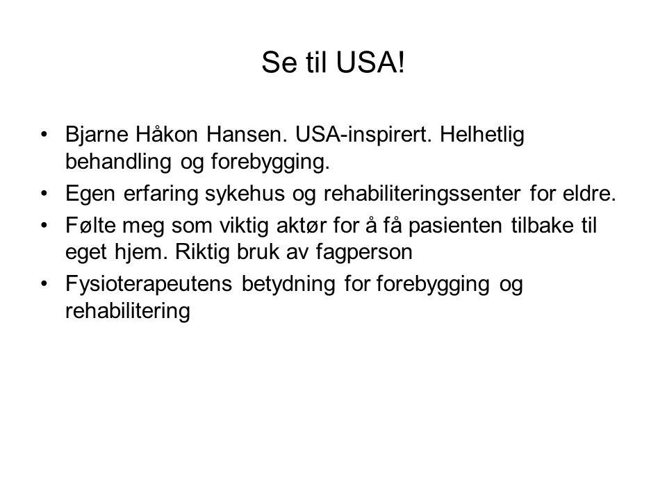 Se til USA! Bjarne Håkon Hansen. USA-inspirert. Helhetlig behandling og forebygging. Egen erfaring sykehus og rehabiliteringssenter for eldre.