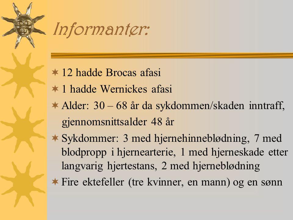 Informanter: 12 hadde Brocas afasi 1 hadde Wernickes afasi
