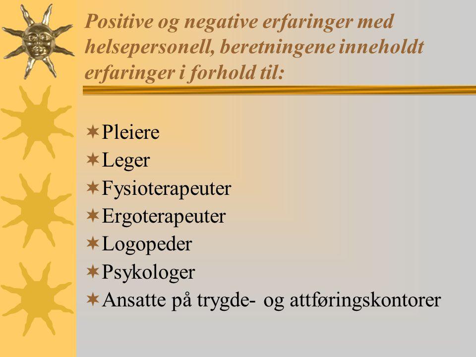 Positive og negative erfaringer med helsepersonell, beretningene inneholdt erfaringer i forhold til: