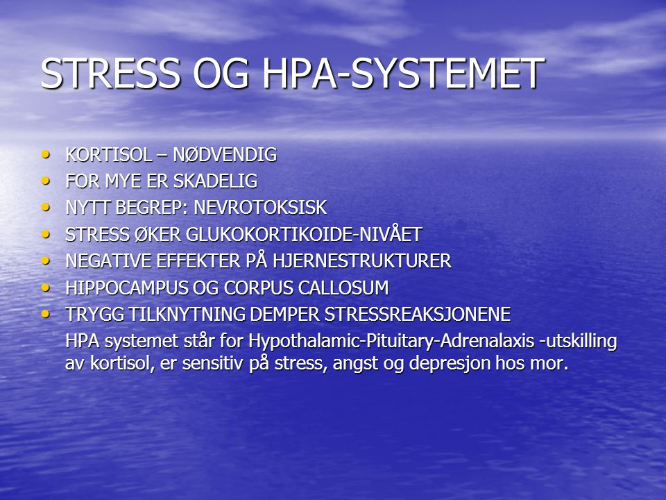 STRESS OG HPA-SYSTEMET