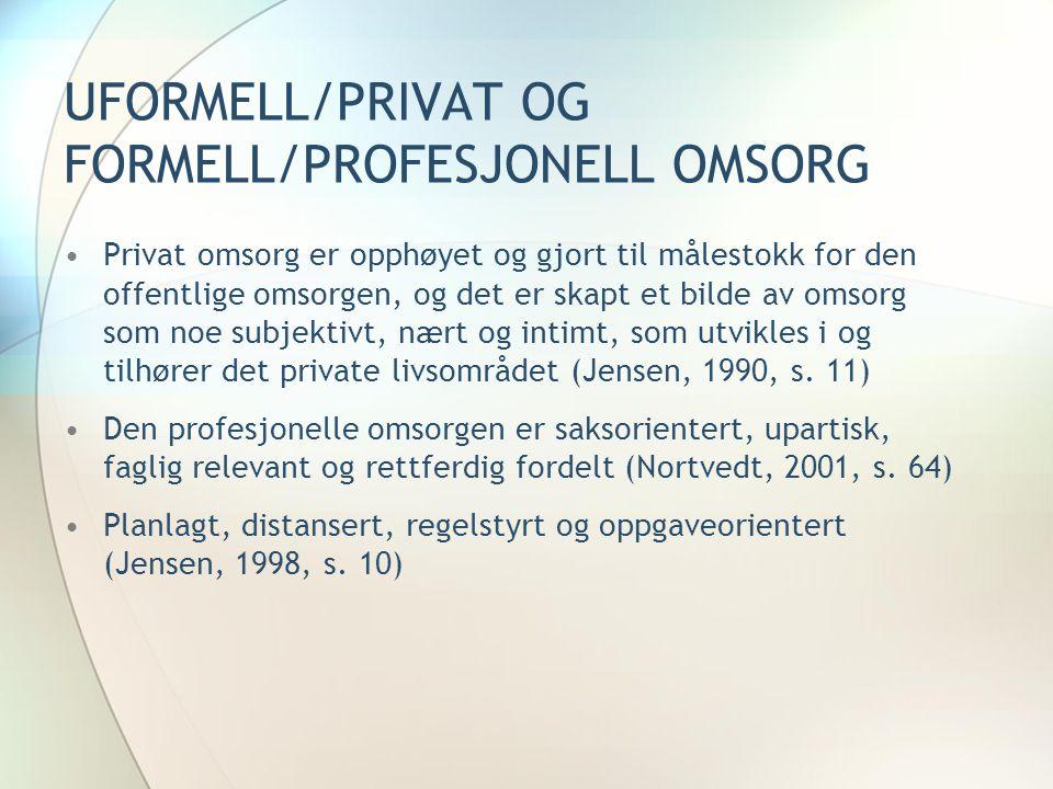 UFORMELL/PRIVAT OG FORMELL/PROFESJONELL OMSORG