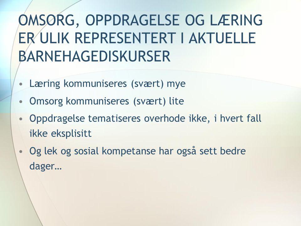 OMSORG, OPPDRAGELSE OG LÆRING ER ULIK REPRESENTERT I AKTUELLE BARNEHAGEDISKURSER