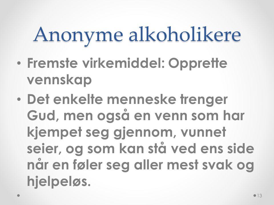 Anonyme alkoholikere Fremste virkemiddel: Opprette vennskap