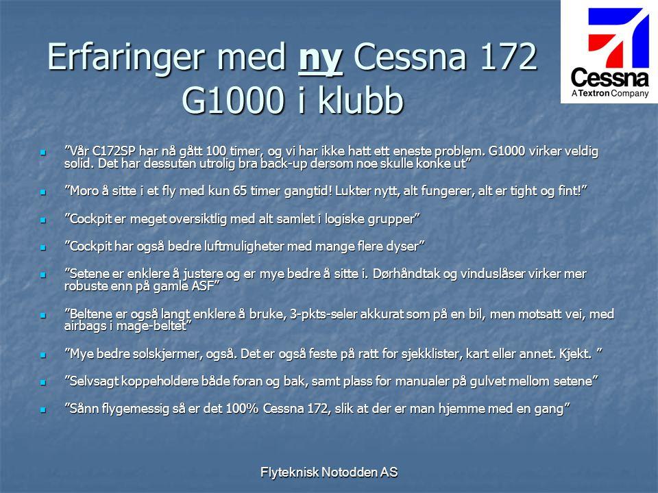 Erfaringer med ny Cessna 172 G1000 i klubb