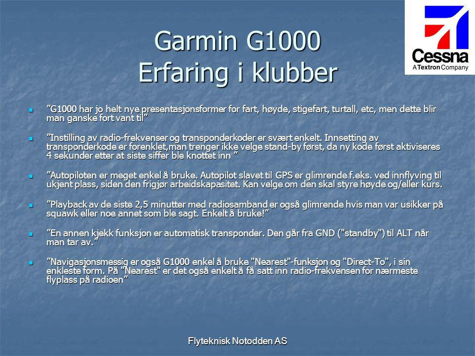 Garmin G1000 Erfaring i klubber