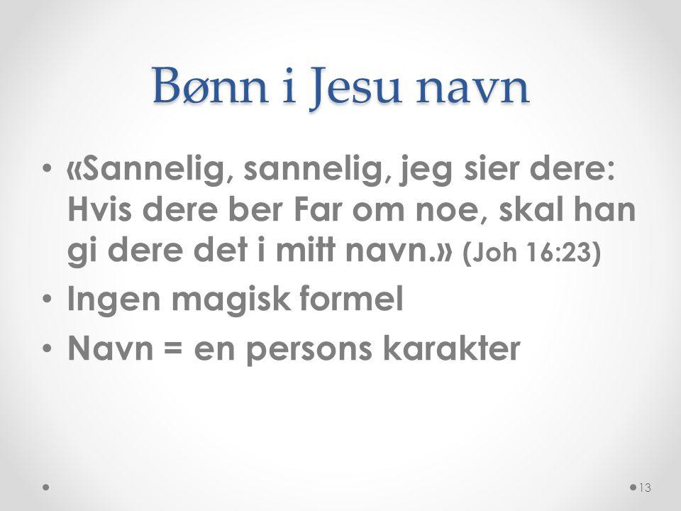 Bønn i Jesu navn «Sannelig, sannelig, jeg sier dere: Hvis dere ber Far om noe, skal han gi dere det i mitt navn.» (Joh 16:23)