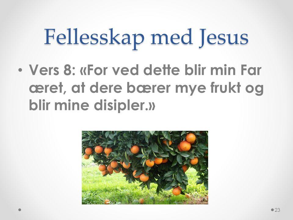 Fellesskap med Jesus Vers 8: «For ved dette blir min Far æret, at dere bærer mye frukt og blir mine disipler.»