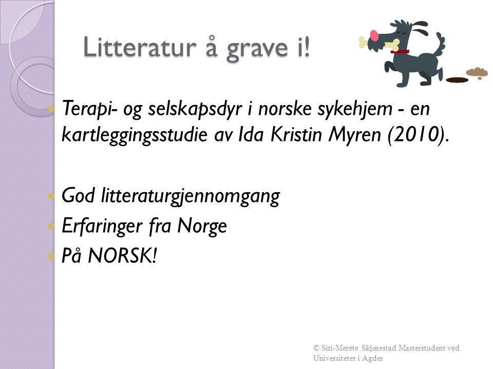 Litteratur å grave i! Terapi- og selskapsdyr i norske sykehjem - en kartleggingsstudie av Ida Kristin Myren (2010).