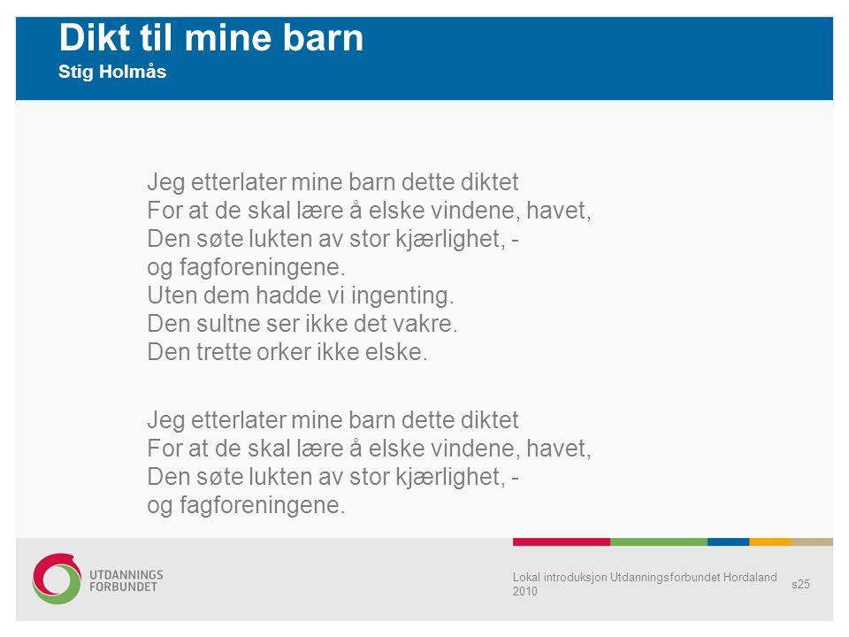 Dikt til mine barn Stig Holmås