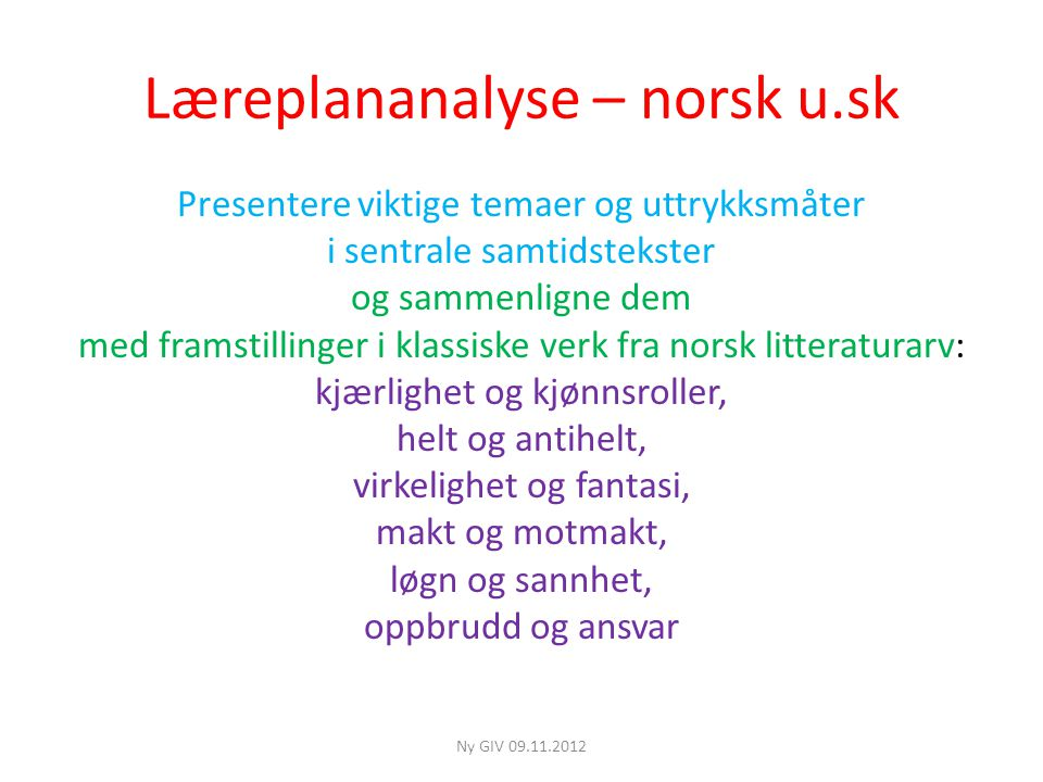 Læreplananalyse – norsk u.sk