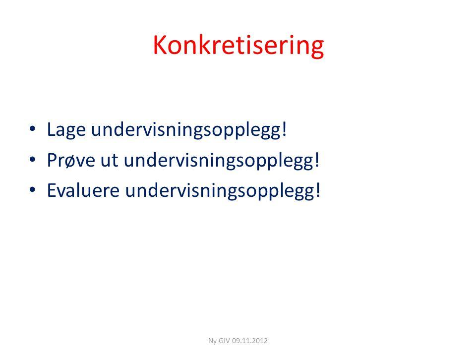 Konkretisering Lage undervisningsopplegg!