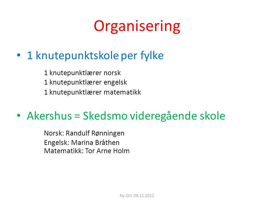 Organisering 1 knutepunktskole per fylke