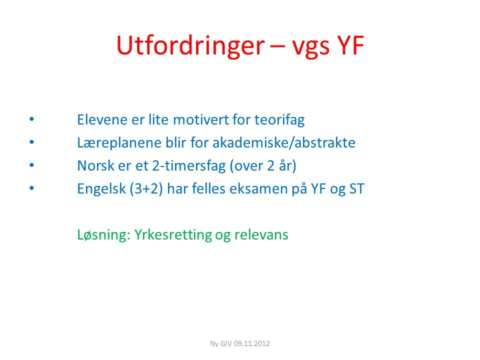 Utfordringer – vgs YF Elevene er lite motivert for teorifag