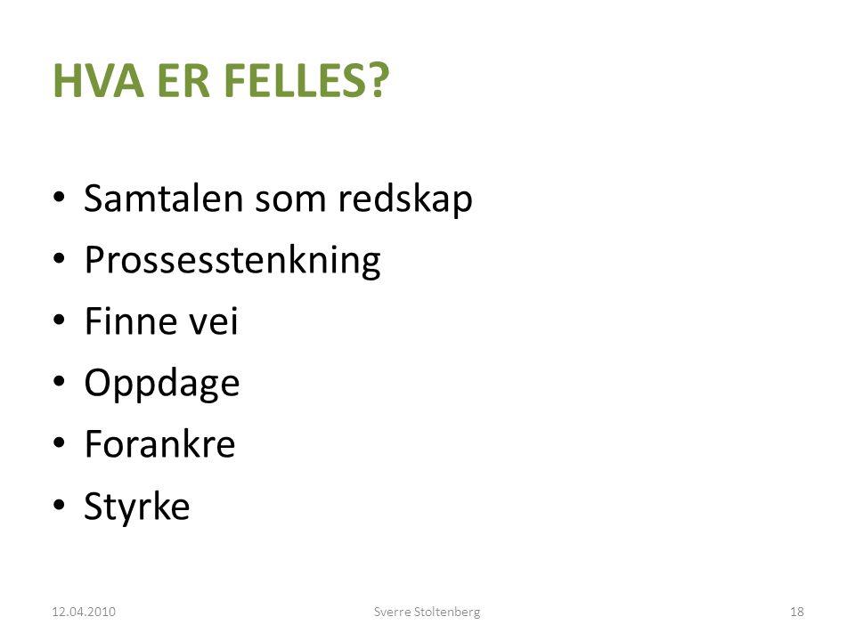 HVA ER FELLES Samtalen som redskap Prossesstenkning Finne vei Oppdage