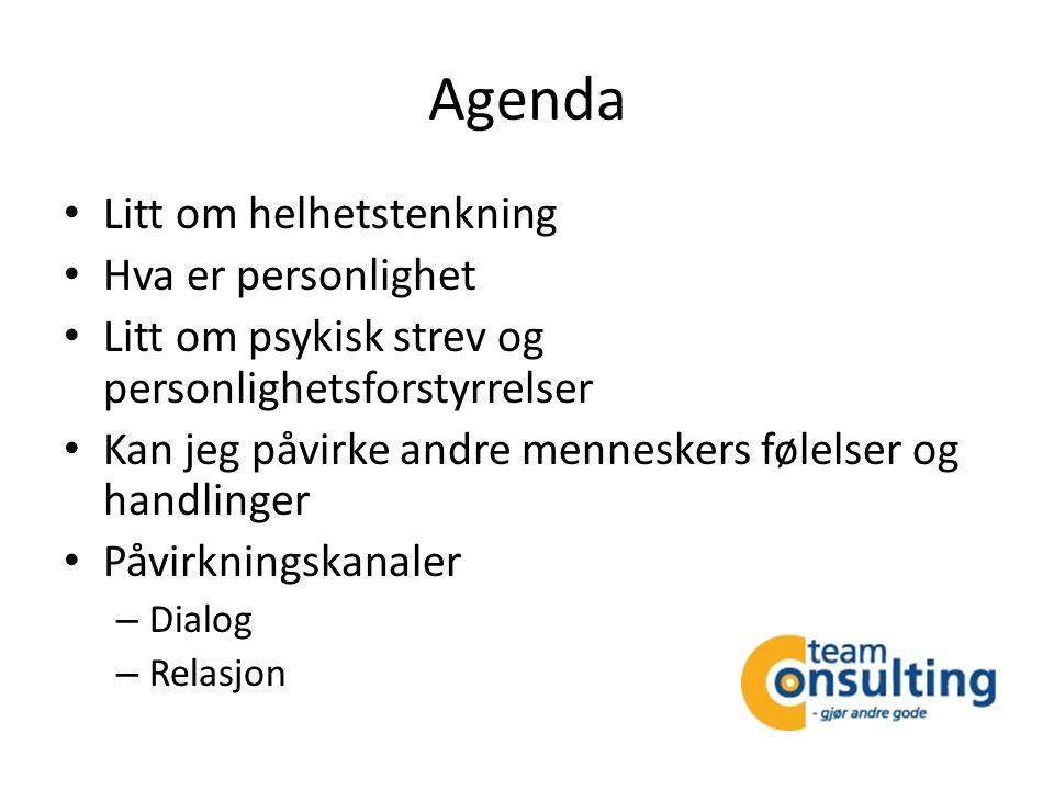 Agenda Litt om helhetstenkning Hva er personlighet