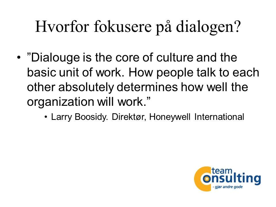 Hvorfor fokusere på dialogen