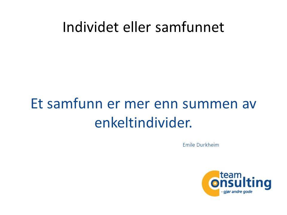 Individet eller samfunnet Et samfunn er mer enn summen av enkeltindivider. Emile Durkheim